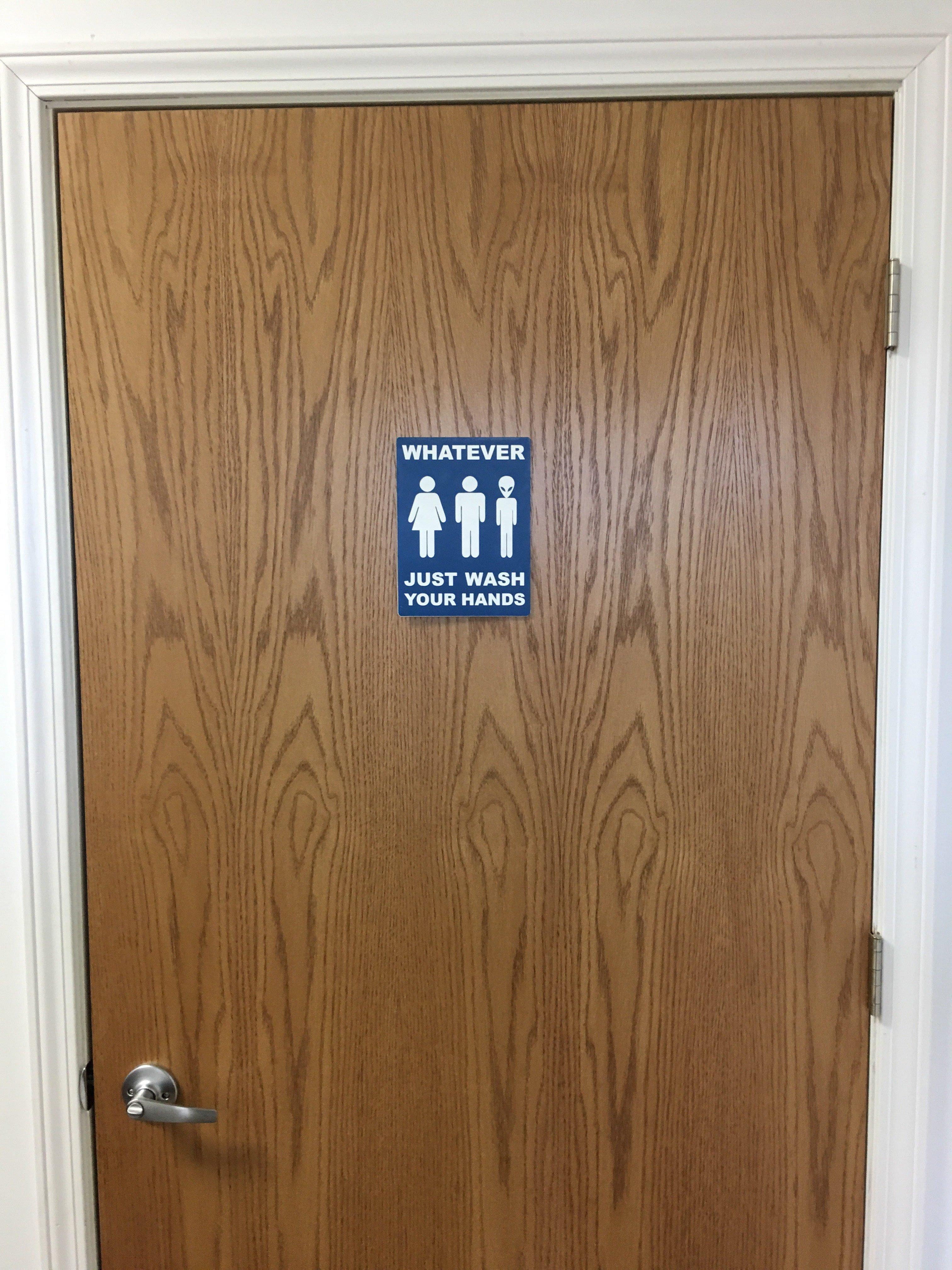 All Gender Restroom Sign Blue Whatever Just Wash Your